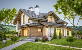 перевод 3d современного уютного дома в стиле шале Стоковые Изображения RF