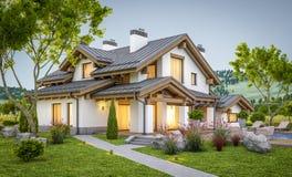 перевод 3d современного уютного дома в стиле шале Стоковое Изображение RF