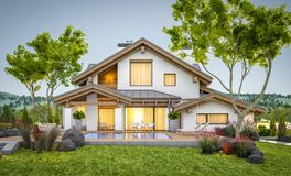 перевод 3d современного уютного дома в стиле шале Стоковое Фото