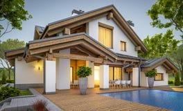 перевод 3d современного уютного дома в стиле шале Стоковая Фотография RF