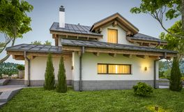 перевод 3d современного уютного дома в стиле шале Стоковая Фотография
