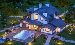 перевод 3d современного уютного дома в стиле шале Стоковое Изображение