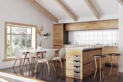 Перевод 3d современной деревянной кухни внутренний стоковые изображения