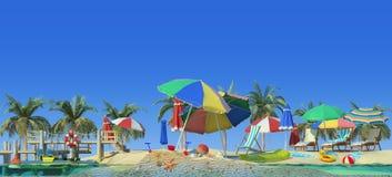 перевод 3d солнечного пляжа иллюстрация штока