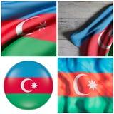 перевод 3d флага Азербайджана иллюстрация вектора