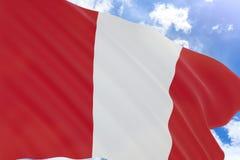 перевод 3D флага Перу развевая на предпосылке голубого неба Стоковое фото RF