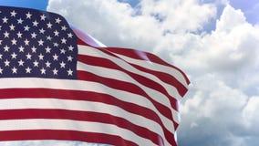 перевод 3D флага Соединенных Штатов Америки развевая на предпосылке голубого неба акции видеоматериалы