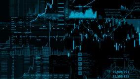 перевод 3D фондовых индексов в виртуальном космосе Экономический рост, рецессия стоковая фотография