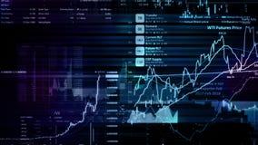 перевод 3D фондовых индексов в виртуальном космосе Экономический рост, рецессия стоковое изображение rf