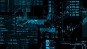 перевод 3D фондовых индексов в виртуальном космосе Экономический рост, рецессия стоковое фото