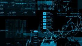 перевод 3D фондовых индексов в виртуальном космосе Экономический рост, рецессия стоковые изображения