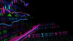 перевод 3D фондовых индексов в виртуальном космосе Экономический рост, рецессия стоковые изображения rf