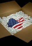 перевозка груза США флага коробки Стоковые Изображения RF