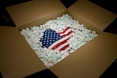перевозка груза США флага коробки Стоковая Фотография RF