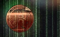 Перевод денег 3D Bitcoins фото золотой новый виртуальный Стоковая Фотография RF