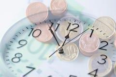 Переводить деньги евро с двойной экспозицией Стоковые Фотографии RF