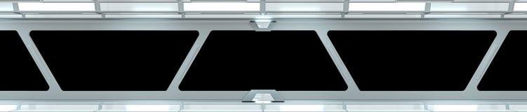Перевод коридора 3D космического корабля белый Стоковая Фотография