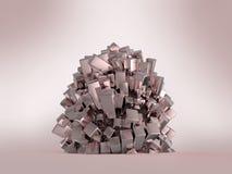 Перевод предпосылки сияющего лоснистого металла кубический кристаллический абстрактный Стоковые Фотографии RF