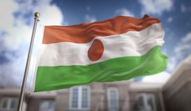 Перевод флага 3D Нигера на предпосылке здания голубого неба Стоковая Фотография