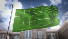 Перевод флага 3D Ladonia на предпосылке здания голубого неба Стоковое Изображение