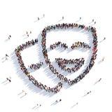 Перевод людей 3D выставки маск Стоковые Фотографии RF