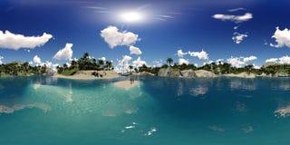 перевод 3d ладони приставает к берегу в заливе острова Стоковые Изображения RF