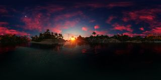 перевод 3d ладони приставает к берегу в заливе острова Стоковые Фото