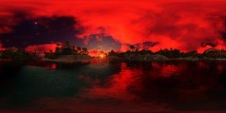 перевод 3d ладони приставает к берегу в заливе острова Стоковое фото RF