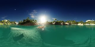 перевод 3d ладони приставает к берегу в заливе острова Стоковая Фотография RF
