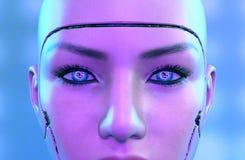 перевод 3D женской стороны робота Стоковое Изображение