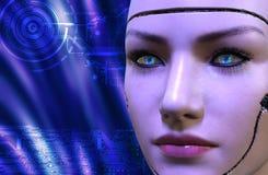 перевод 3D женской стороны робота Стоковые Изображения