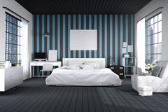 перевод 3D: иллюстрация большой просторной спальни в голубом и черном цвете большая удобная двуспальная кровать в элегантной совр стоковое изображение rf