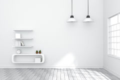 перевод 3D: иллюстрация уютного интерьера жить-комнаты с полкой белой книги против матовой белой стены естественный свет от внешн иллюстрация штока