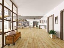 Перевод 3d квартиры просторной квартиры внутренний Стоковые Изображения
