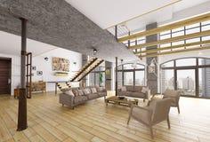 Перевод 3d квартиры просторной квартиры внутренний Стоковое Изображение RF
