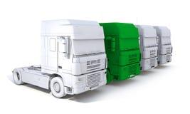 перевод 3d концепции тележки полуприцепа skecth с одним зеленым цветом Стоковая Фотография
