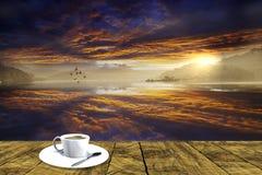 перевод 3d красивого ландшафта с плитой с легким coffe Стоковые Фотографии RF