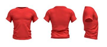перевод 3d красной футболки сформировал как реалистический мужской торс в фронте, стороне и заднем взгляде Стоковое Изображение RF