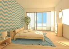 Перевод 3d дневного света спальни чистый Стоковое Изображение