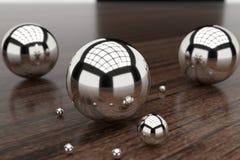 перевод 3d Отражая шарики crome Стоковое Фото