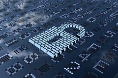 перевод 3D от сизоватого padlock с картиной стены на цифровой панели СИД Стоковые Фотографии RF