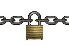 перевод 3D от padlock между 2 железными цепями, изолированными на белизне Стоковые Изображения RF