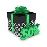 перевод 3d подарочной коробки с скидкой 50% над белизной Стоковые Фото