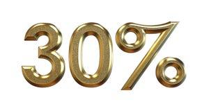 перевод 3d Проценты золота на белой предпосылке Стоковое фото RF