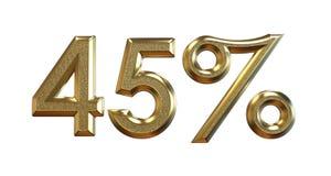 перевод 3d Проценты золота на белой предпосылке Стоковая Фотография RF