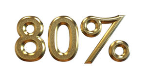 перевод 3d Проценты золота на белой предпосылке Стоковое Изображение