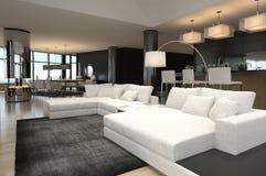 Самомоднейший интерьер живущей комнаты | Просторная квартира конструкции Стоковое фото RF