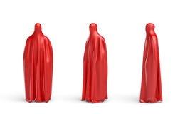 перевод 3d силуэта полной высоты человеческого покрытого красной тканью в фронте, стороне и 45 градусах взгляда бесплатная иллюстрация