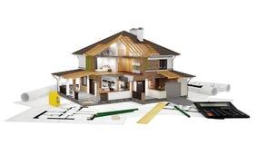 перевод 3D современного дома Стоковая Фотография RF