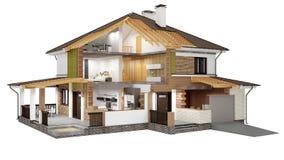 перевод 3D современного дома Стоковое Изображение
